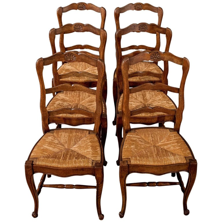 French Kitchen Chairs: Antique Set Of Six French Oak Kitchen Dining Country