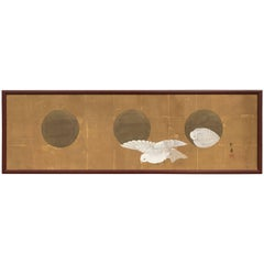 Japanese Antique Silk Painting Gaku White Nesting Doves and Moon Shapes Dwelling