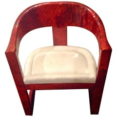 Stunning Karl Springer Oaniss Chair, in Red Goatskin