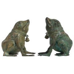 Pair of Late 20th Century Bronze Frogs