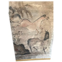 Japanese Antique Galloping Horses Family Hand-Painted Scroll