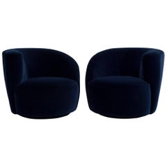 Pair of Vladimir Kagan Designed Nautilus Swivel Chairs, 1990s
