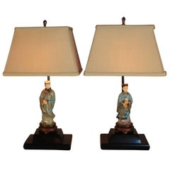 Pair of 1920s Chinese Cloisonné Bronze and Enamel Figures Table Lamps