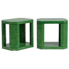 Striking Pair of Green Hand-Painted Faux Skin Side Tables, 1980s