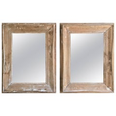 Pair of Antique White Washed Pine Mirrors