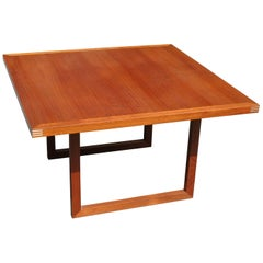 Danish Modern Heltborg Möbler Teak Table with Inlay