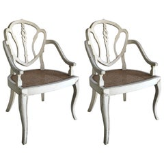 Pair of White Washed Armchairs with Cane Seating