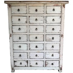 Primitive 21-Drawer Distress Painted Cabinet