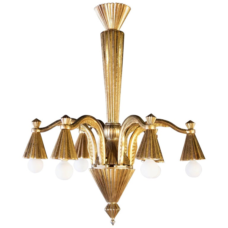 French Bronze Art Deco Chandelier with Six Lights