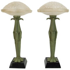 Pair of Art Deco Table Lamps by Le Verrier