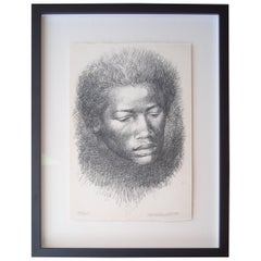 "Charles White Lithograph ""Head"", signed and numbered"