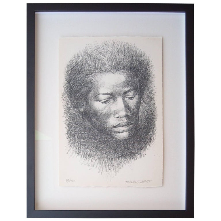 "Charles White Lithograph ""Head"", signed and numbered 1"