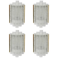 Set of Four Brass and Glass Wall Sconces