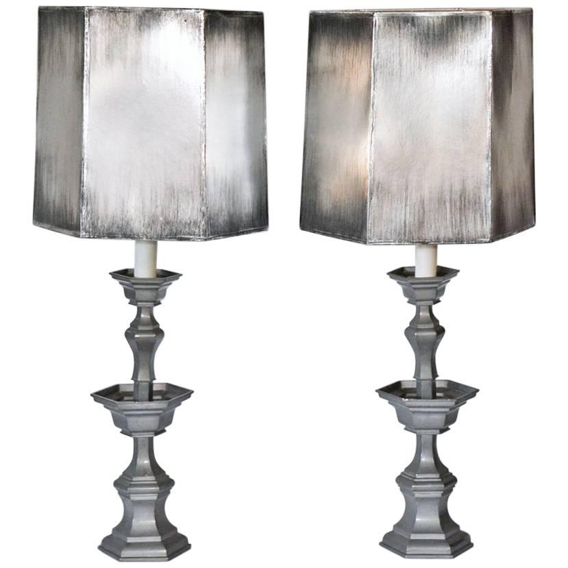 Pair Of Pewter Candlestick Lamps With Silver Shades For Sale