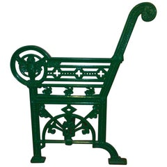 Falkirk Ironworks, Rare Cast Iron Garden Bench with Stylized Owls to Each End