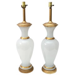Pair of Table Lamps in Opaline Glass