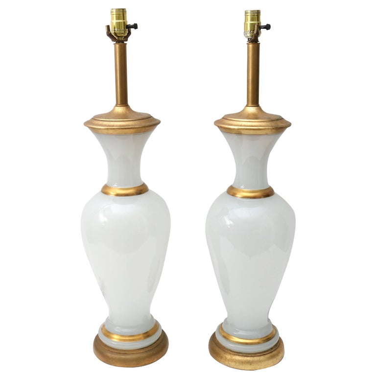 Pair of Hollywood Regency Style Table Lamps in Opaline Glass