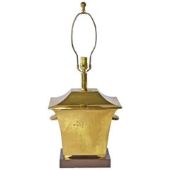Brass and Wood Chinese Style Table Lamp