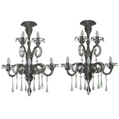 Pair of Carlo Rampazzi Wire and Crystal Sconces