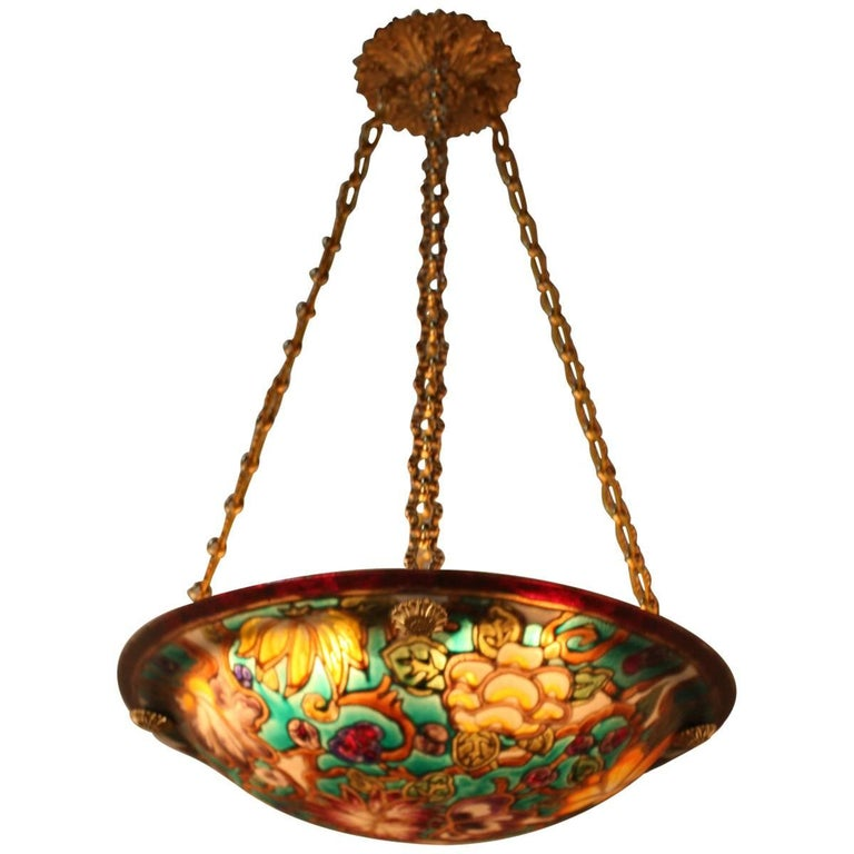 French Art Glass Hand Painted Chandelier For Sale At 1stdibs