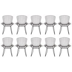Set of Ten Original Harry Bertoia for Knoll Black Wire Side Chairs, Circa 1960