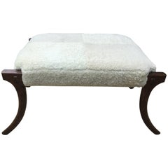 Klismos Bench with Soft Shearling Seat
