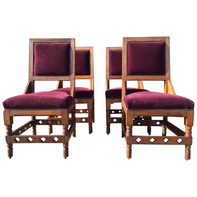 Four Interesting Gothic Revival Oak Dining Chairs in the Style of William Burges
