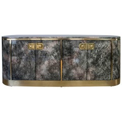 Mastercraft Lacquer Painted Malachite and Brass Credenza