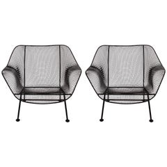 1960s Pair of Russell Woodard Black Sculptura Lounge Chairs