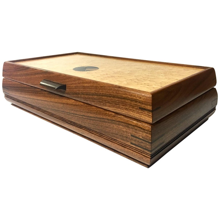 inlaid mixed woods tabletop jewelry box for sale at 1stdibs