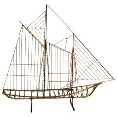 C. Jere Artisan House Brass Wire Schooner Table Top Sculpture, 1976
