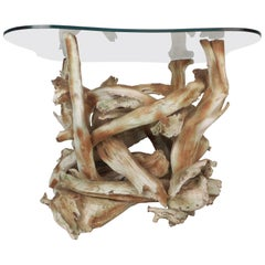 Mid-Century Modern Amoeba Shaped Driftwood End Table