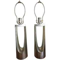 Gorgeous Pair of Chrome Laurel Hairpin Lamps, Mid-Century Modern