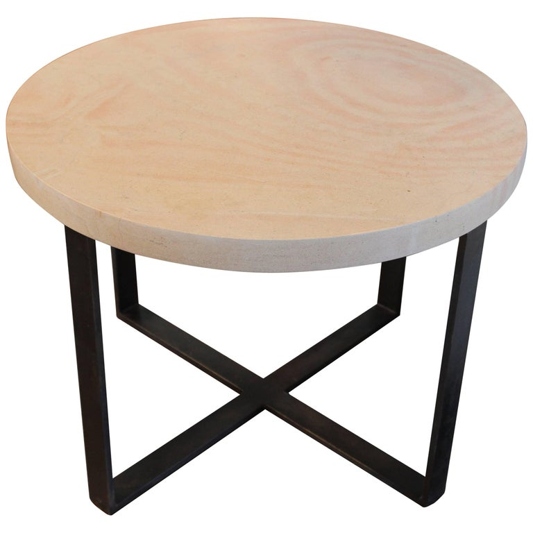 """X"" Motif End Table, French Limestone on Black Patina Steel Base"