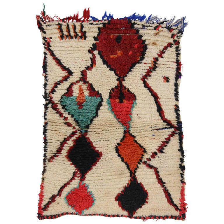 Vintage Berber Moroccan Azilal Rug With Modern Tribal