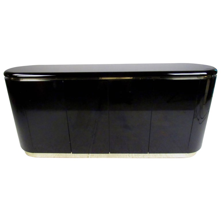 Contemporary Modern Black Lacquer Sideboard For Sale At