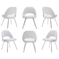 Saarinen Executive Armless Chairs in Dove Luxe Suede, Set of Six