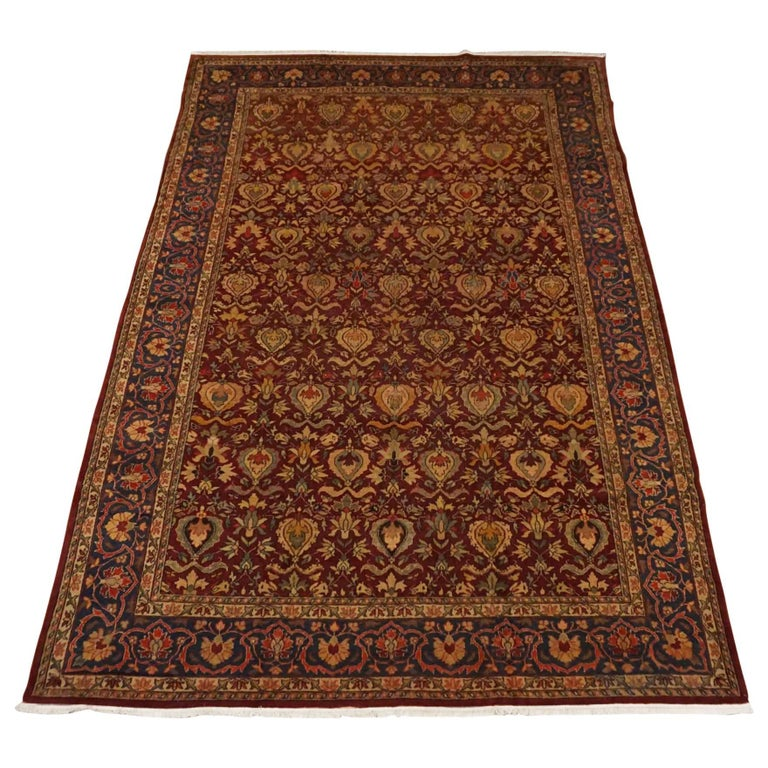 Antique Cotton Agra Rug With Abrash Circa 1900 For Sale: Antique Burgundy Indian Agra Rug, Circa 1900 For Sale At
