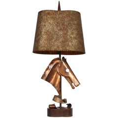 Yasha Heifetz Hammered Copper Horse Head Table Lamp, circa 1950