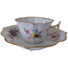 19th Century Meissen Porcelain Demitasse Cup and Saucer