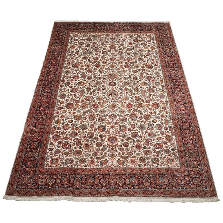 Ivory Wool And Silk Persian Naein Area Rug For Sale At 1stdibs: Fine Wool And Silk Persian Tabriz Rug, Circa 2000 For Sale