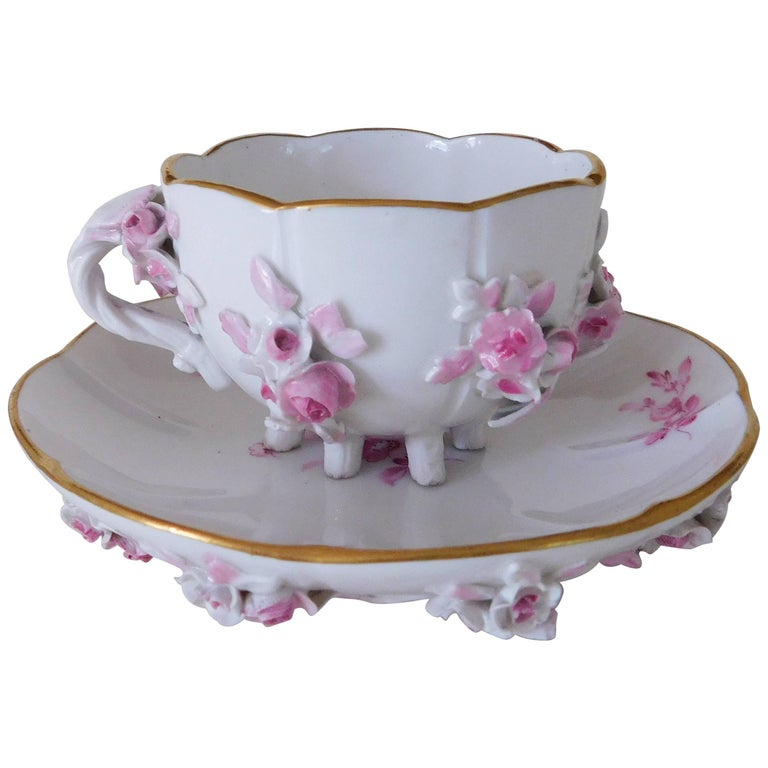 19th Century Meissen Porcelain Floral Teacup and Saucer For Sale