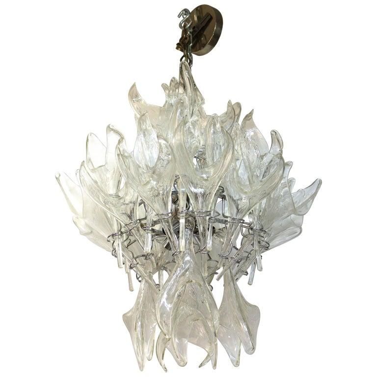 Mid-Century Murano Glass Pulegoso Flame Chandelier