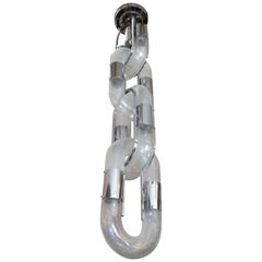 Carlo Nason Chain Hanging Lamp for Mazzega in Chrome and Glass