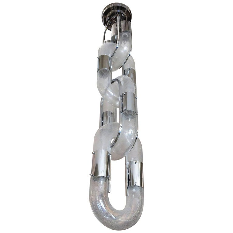 Carlo Nason Chain Hanging Lamp for Mazzega in Chrome and Glass 1