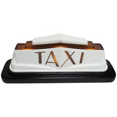 1930s Art Deco Molded Glass Taxi Cab Top Light