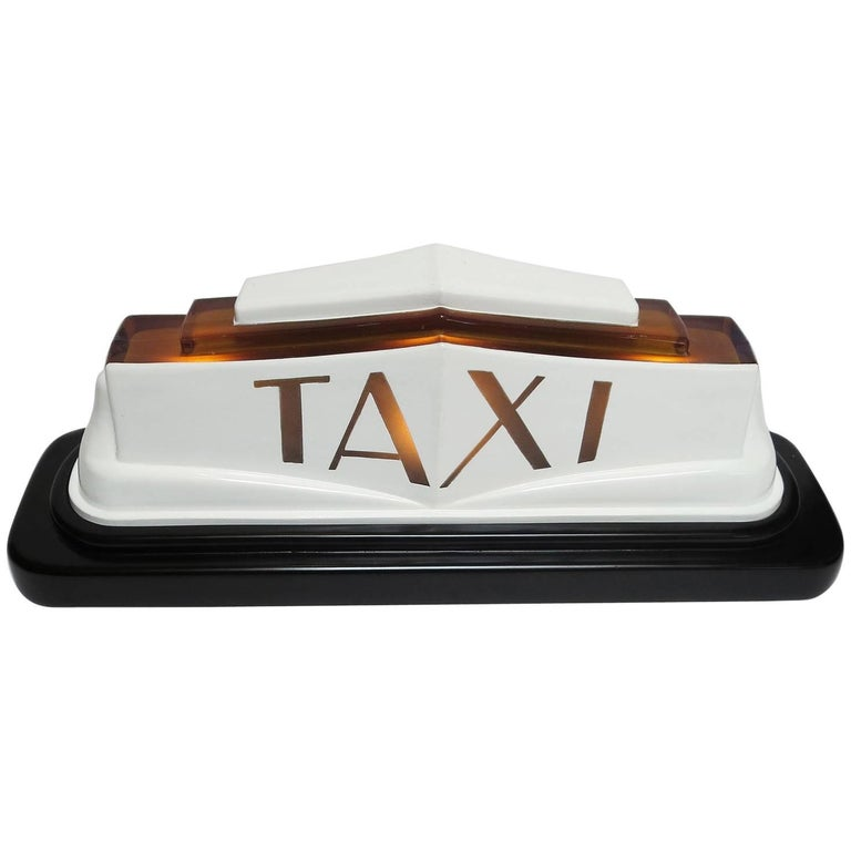 1930s Art Deco Molded Glass Taxi Cab Top Light 1