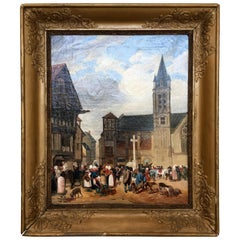 19th Century Market Scene Painting