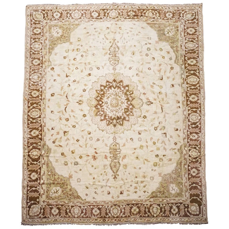 Antique Beige And Brown Indian Rug Circa 1890 For Sale At