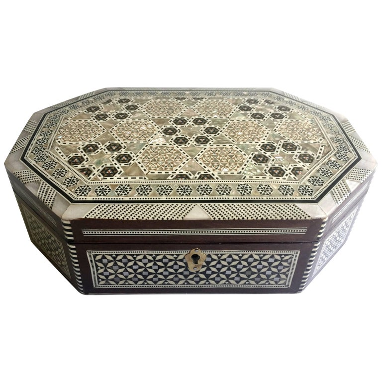 Mother Of Pearl Jewelry Box Octagon Box For Sale At 1stdibs